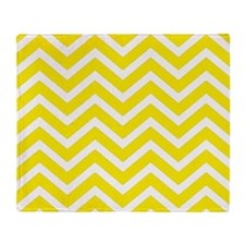 Aureolin Yellow and white chevrons Throw Blanket