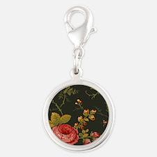 Floral Rose Series Designer Or Silver Round Charm