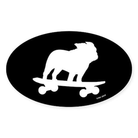 Skateboarding Bulldog Sticker (Oval)