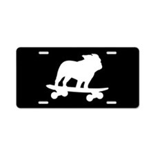 Skateboarding Bulldog Aluminum License Plate