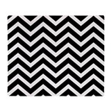 Chevron black and white blanket throw Fleece Blankets