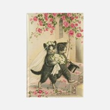 Vintage Wedding Cats Rectangle Magnet