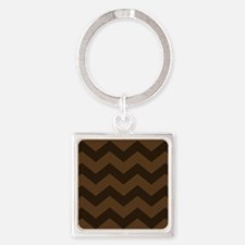 Chocolate Brown Chevron Keychains