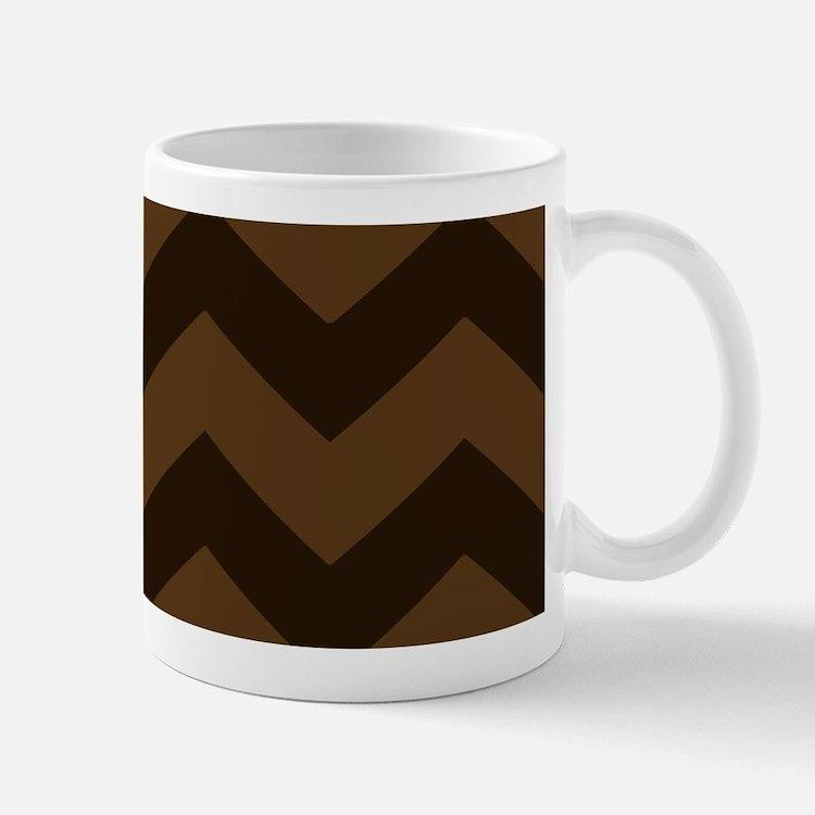 Chocolate Brown Chevron Mugs