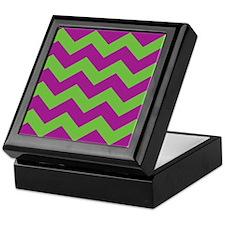 Purple and Green Chevron Keepsake Box