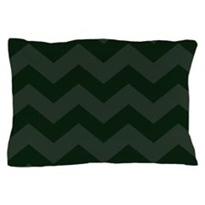 Dark Forest Green Chevron Pillow Case