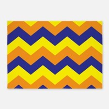 Orange Yellow Blue Chevron 5'x7'Area Rug