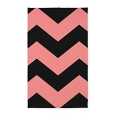 Pink and Black Chevron Pattern 3'x5' Area Rug