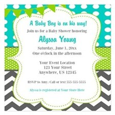 Teal Green Chevron Invitation Invitations