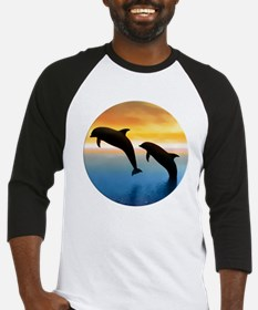 Leaping Dolphin at Sunset in Circle Baseball Jerse