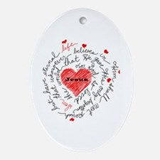 For God So Loved the World Oval Ornament