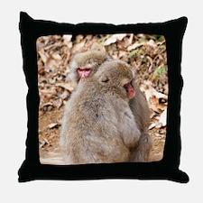 cuddling monkeys Throw Pillow