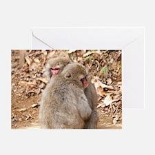 cuddling monkeys Greeting Card