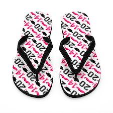 Pink Mustache Grad 2014 Flip Flops