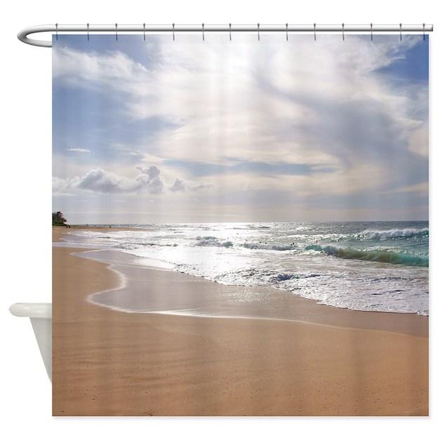 Sandy Beach: Sandy Beach Hawaii Tropical Shower Curtain By SkyStudio