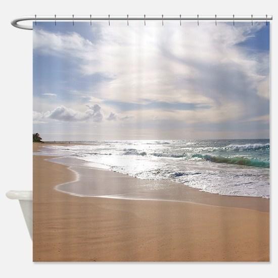 Sandy Beach Hawaii Tropical Shower Curtain