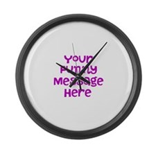 Four Line Dark Pink Message Large Wall Clock