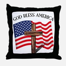 God Bless American With US Flag and R Throw Pillow