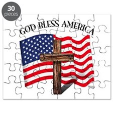 God Bless American With US Flag and Rugged Puzzle