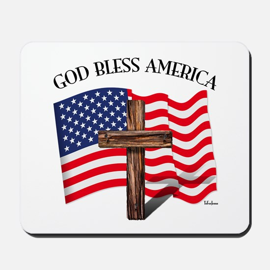God Bless American With US Flag and Rugg Mousepad