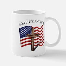 God Bless American With US Flag and Rug Mug