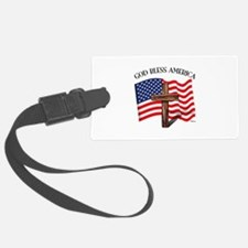 God Bless American With US Flag Luggage Tag