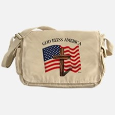 God Bless American With US Flag and Messenger Bag