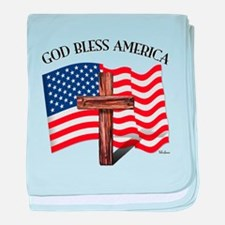 God Bless American With US Flag and R baby blanket