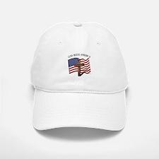 God Bless American With US Flag and Rugged Cro Baseball Baseball Cap