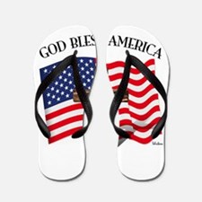 God Bless American With US Flag and Rug Flip Flops