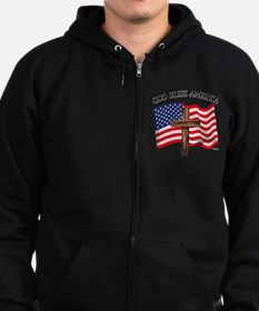 God Bless American With US Flag Zip Hoodie