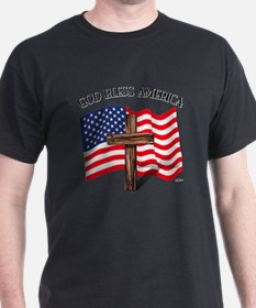 God Bless American With US Flag and R T-Shirt