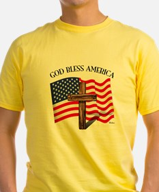 God Bless American With US Flag and T