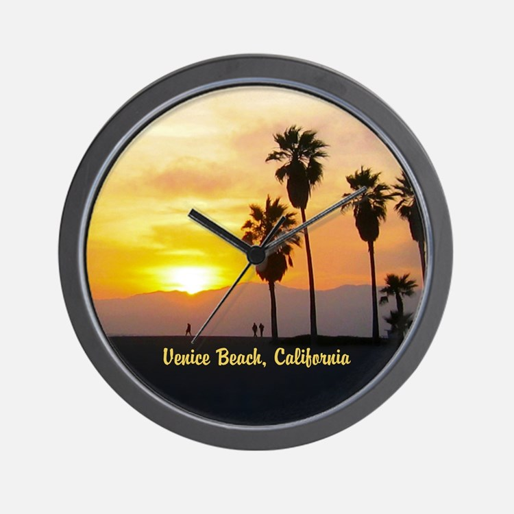 Personalized Venice Beach California Su Wall Clock