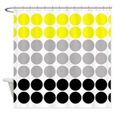 Big Yellow and Black Polka Dots Shower Curtain