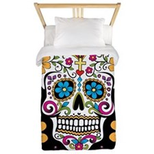 Sugar Skull BLACK Twin Duvet