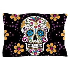 Sugar Skull BLACK Pillow Case