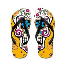 Sugar Skull YELLOW Flip Flops