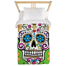 Sugar Skull GREEN Twin Duvet
