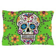 Sugar Skull GREEN Pillow Case