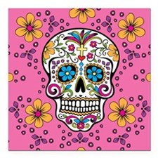 "Sugar Skull PINK Square Car Magnet 3"" x 3"""