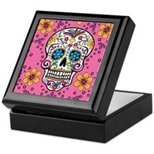 Sugar Skull PINK Keepsake Box