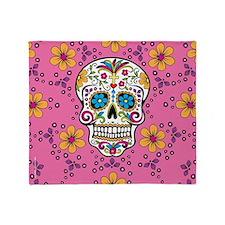 Sugar Skull PINK Throw Blanket