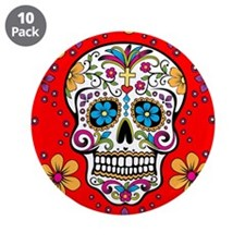 "Sugar Skull RED 3.5"" Button (10 pack)"