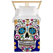 Sugar Skull ROYAL BLUE Twin Duvet