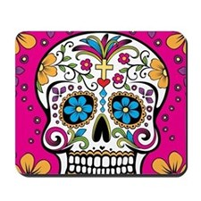 Sugar Skull BRIGHT PINK Mousepad