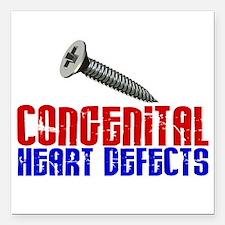"""Screw Congenital Heart D Square Car Magnet 3"""" x 3"""""""
