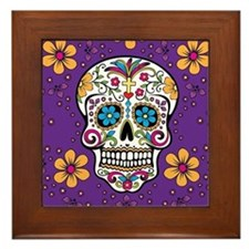 Sugar Skull PURPLE Framed Tile
