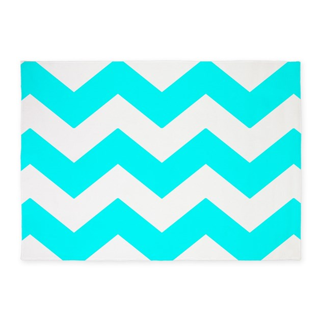 Aqua Blue And White Chevron 5'x7'Area Rug By PatternedShop