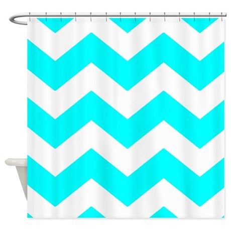 Aqua Blue And White Chevron Shower Curtain By Patternedshop